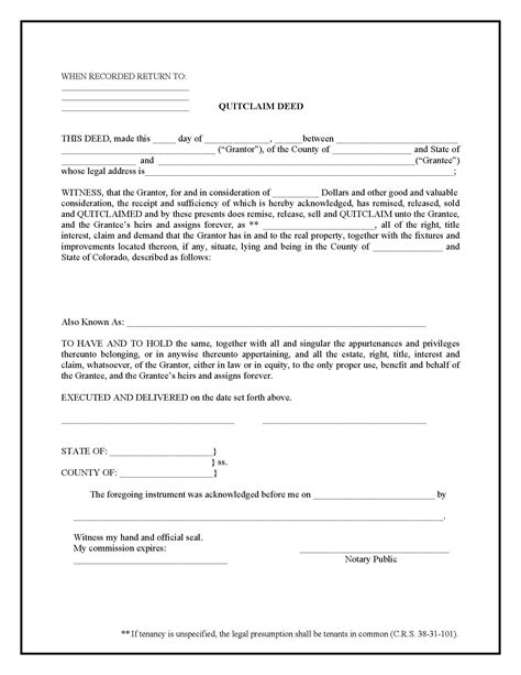 colorado quit claim deed form deed forms deed forms