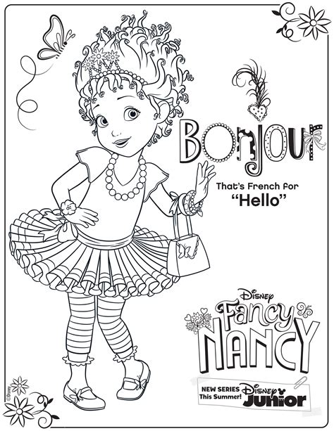 fancy nancy coloring page activity disney family