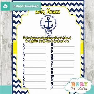 Navy & Yellow Nautical Anchor Baby Shower Games - D197