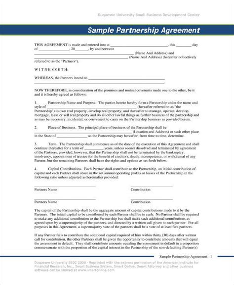 real estate partnership agreement templates  word