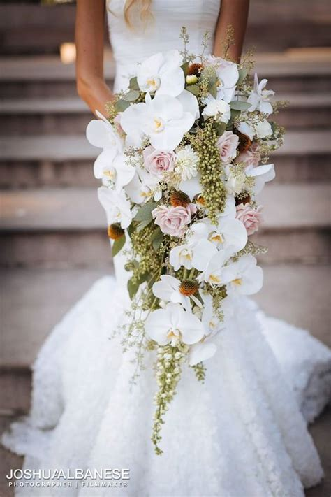 white orchid and pink rose wedding bouquet wedding