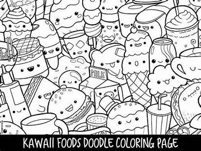 Coloring Printable Doodle Foods Kawaii Adults Instant