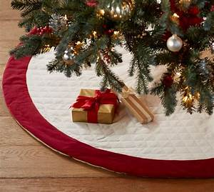 velvet tree skirt ivory with red cuff pottery barn With christmas tree skirt pottery barn