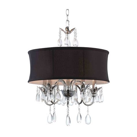 Dining Room Light Fixtures Home Depot by Black Drum Shade Crystal Chandelier Pendant Light 2234