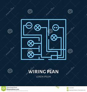 Wiring Plan Flat Line Icon  Vector Sign Of Electrical