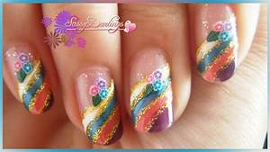Rainbow flowers nail art tutorial love