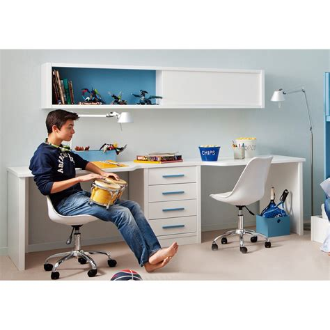 Deco Chambre Ados - bureau pour 2 enfants avec caisson et étagère asoral