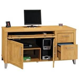 bush somerset credenza computer desk and hutch maple walmart