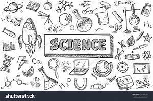 Black White Sketch Science Chemistry Physics Vectores En ...
