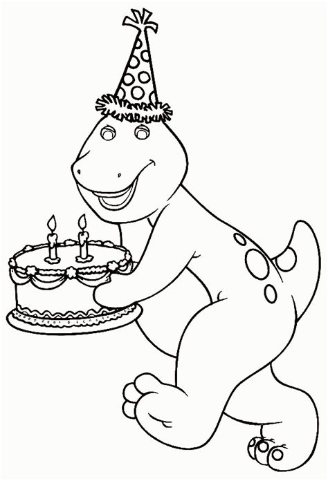 barney birthday coloring pages coloring home