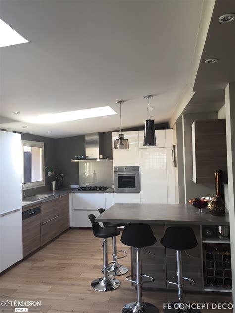 chambre style loft cuisine ouverte sur séjour fe concept deco bordeaux