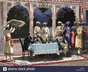 India. British colonial era. Banquet at the palace of Rais ...