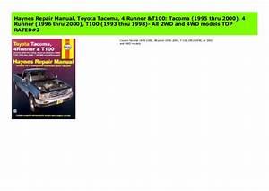 Haynes Repair Manual  Toyota Tacoma  4 Runner  U0026 T100