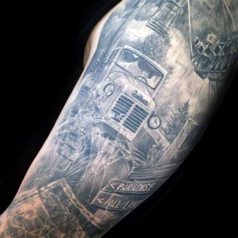 truck tattoos  men vintage  big rig ink design