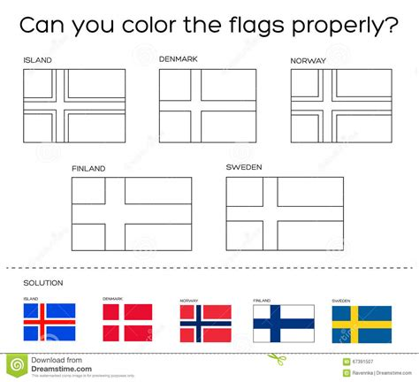 Coloring Book Task Scandinavian Flags With Solution