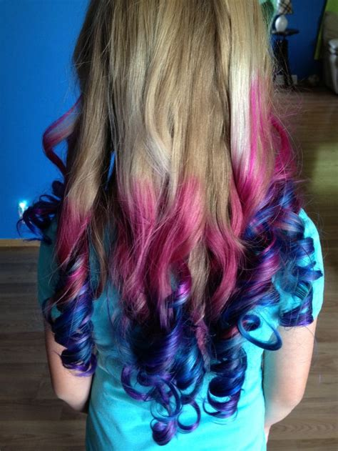 Pink Blue And Purple Colored Hair Ends Hair