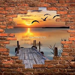 Mur Trompe L Oeil : sticker mural trompe l il mur de pierre coucher de soleil sur lac stickers muraux deco ~ Melissatoandfro.com Idées de Décoration