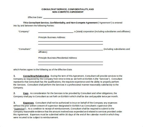 word  compete agreement templates