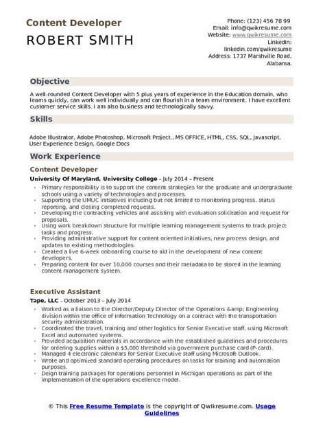 Resume Content by Content Developer Resume Sles Qwikresume