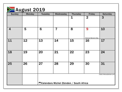 august  calendar south africa michel zbinden en