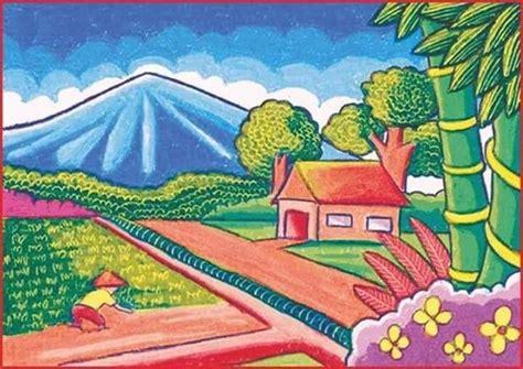 gambar pemandangan dengan view gunung rumah dan sawah