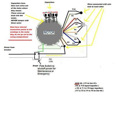 i a 2 hp single phase daul voltage 9 wire marathon