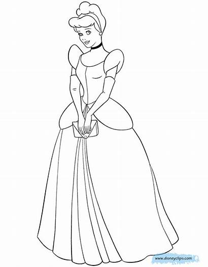 Cinderella Coloring Pages Disney Drawing Holding Disneyclips