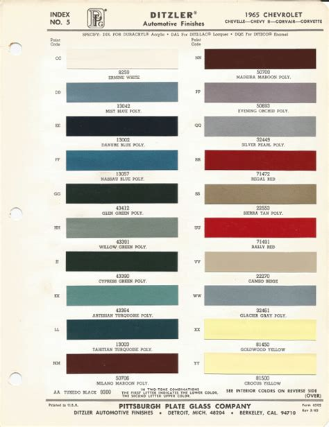 1965 chevrolet impala regal code r car paint color kit