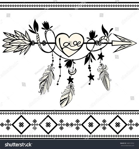vector hand drawn wooden arrow feathers stock vector