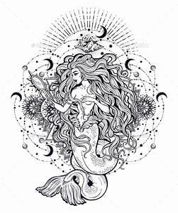 Mermaid Girl With Magic Mirror In Ornate Mandala By