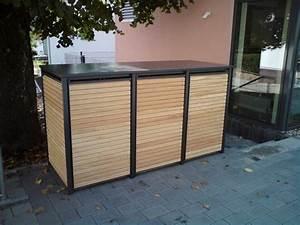 Mülltonnenbox Mit Paketbox : m lltonnenbox holz horizontale l rche auf edelstahlrahmen ~ Michelbontemps.com Haus und Dekorationen