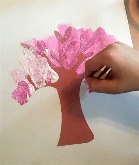 sponge painting cherry blossoms ms s preschool 375   Sponge Painting Cherry Blossom Art in the Preschool Classroom 865x1024