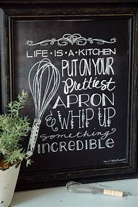 35 creative chalkboard ideas for kitchen decor digsdigs With what kind of paint to use on kitchen cabinets for family sayings wall art