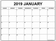 January 2019 calendar 56+ templates of 2019 printable
