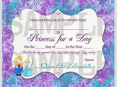 Frozen Birthday Princess for a Day Certificate Printable