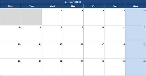 monthly calendar mon start excel template
