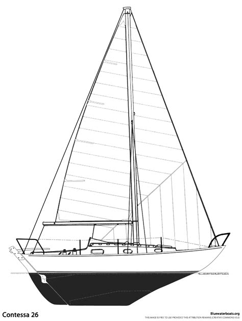 Sailboat Lines by The Contessa 26 Sailboat Bluewaterboats Org
