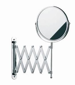 Miroir mural grossissant x5 double face sur bras for Miroir extensible grossissant salle de bain