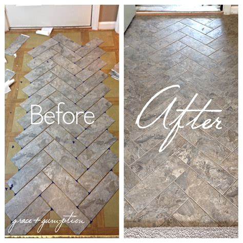 diy herringbone peel  stick tile floor grace gumption
