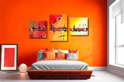 tableau chambre à coucher tableau triptyque décoration jaune collection