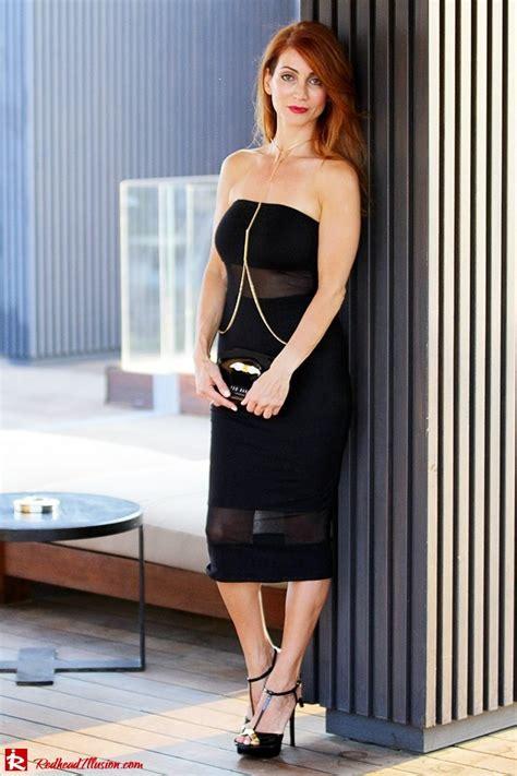 Redhead Illusion Little Black Dress With A Twist