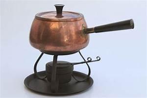 retro vintage copper fondue pot & warming stand, Portugal