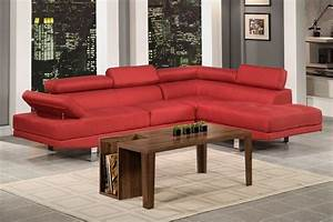 Modern contemporary red blended linen fabric sectional for Modern red fabric sectional sofa