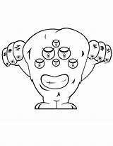 Coloring Alien Monster Eyed Library Popular Clipart Six Line sketch template