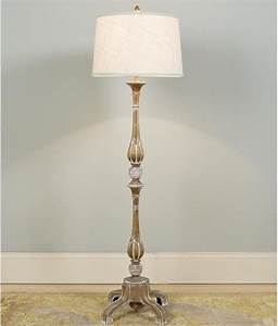 French Provincial Pickled Wood Floor Lamp - Lamp Shades