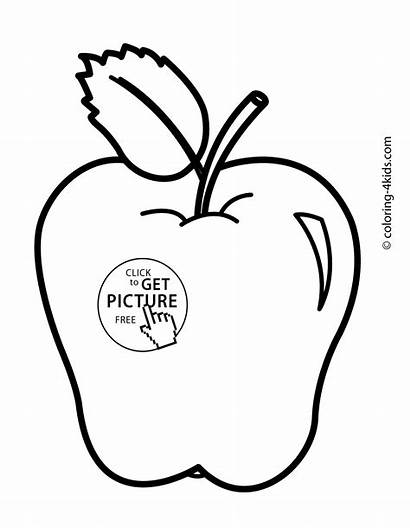 Coloring Apple Pages Fruit Printable Simple Leaf