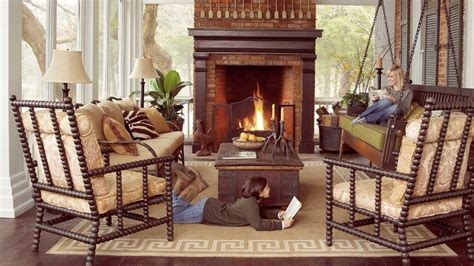 cozy screened fall porch falls  outdoor rooms