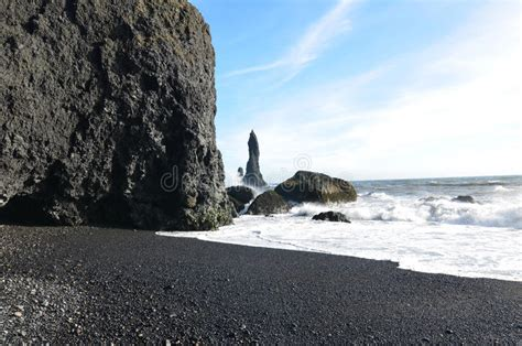 Gorgeous Day On The Black Sand Beach In Vik Iceland Stock ...