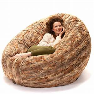 Jaxx, 6, Foot, Cocoon, -, Large, Bean, Bag, Chair, For, Adults, Premium, Luxe, Faux, Fur, -, Red, Fox