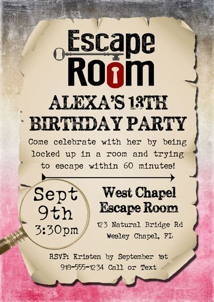 escape room birthday party invitations kids birthday
